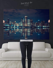 Chicago Skyline at Night Wall Art Canvas Print 1053