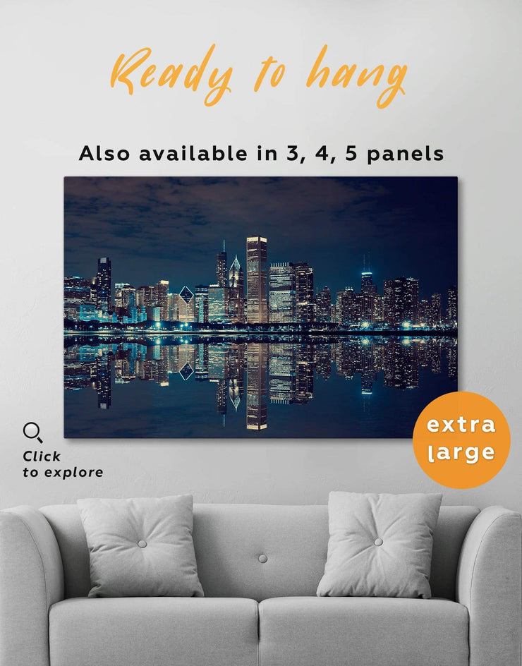 Chicago Skyline at Night Wall Art Canvas Print - Canvas Wall Art 1 panel bedroom City Skyline Wall Art Cityscape Hallway