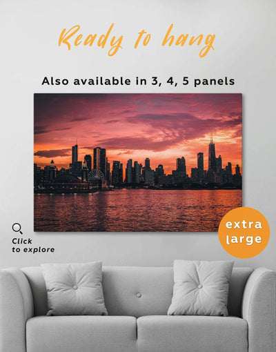 Chicago Skyline at Night Wall Art Canvas Print - Canvas Wall Art 1 panel bedroom City Skyline Wall Art Cityscape Dining room