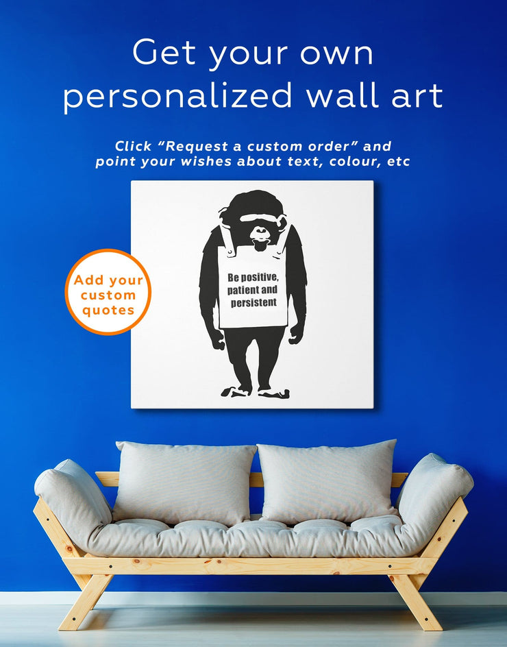 Chimp Laugh Now by Banksy Wall Art Canvas Print - 1 panel Banksy banksy wall art Black black and white wall art
