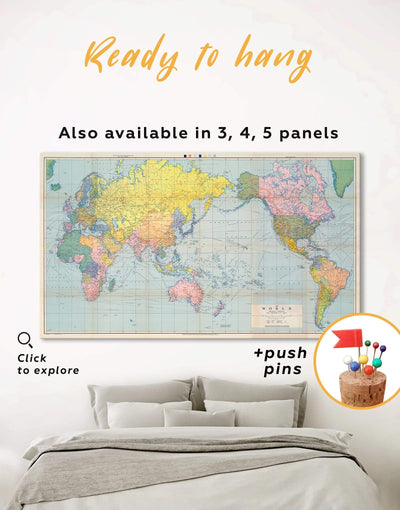 Classic Map Wall Art Canvas Print - 1 panel bedroom corkboard map of the world labeled Push pin travel map