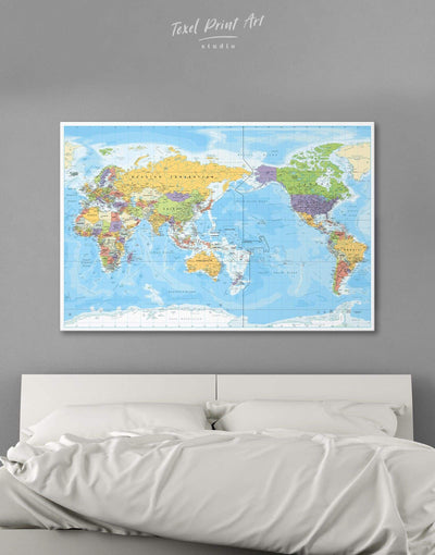 Classic Map Wall Art Canvas Print - 1 panel bedroom Blue contemporary wall art corkboard