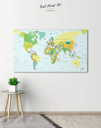 Classic Push Pin Map Wall Art Canvas Print - 1 panel Blue blue and green wall art corkboard Living Room