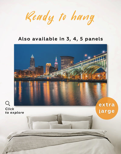Cleveland Wall Art Canvas Print - 1 panel bedroom City Skyline Wall Art Cityscape cleveland wall art