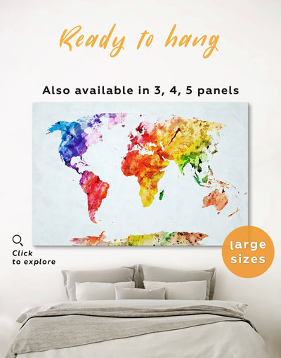 Colorful Abstract World Map Wall Art Canvas Print - 1 panel Abstract Abstract map abstract world map wall art bedroom