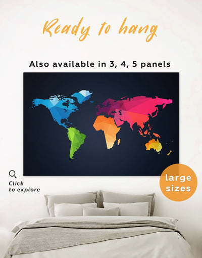 Colorful Map Geometric Wall Art Canvas Print - 1 panel Abstract Abstract map abstract world map wall art bedroom