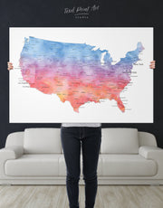 Colorful USA Map Wall Art Canvas Print