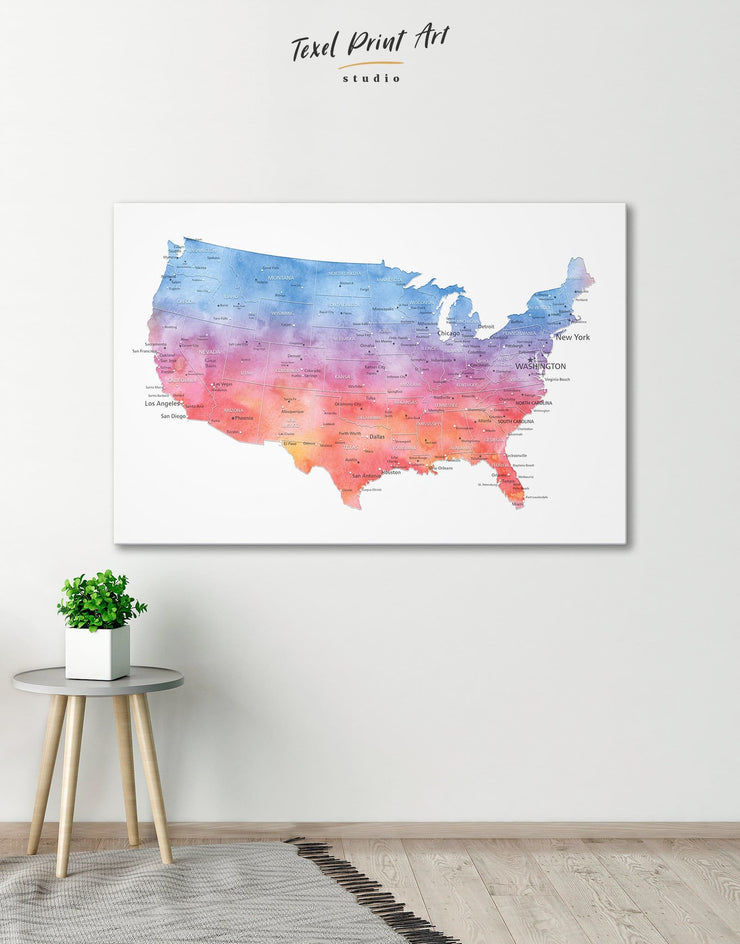 Colorful USA Map Wall Art Canvas Print - 1 panel bedroom Blue contemporary wall art corkboard