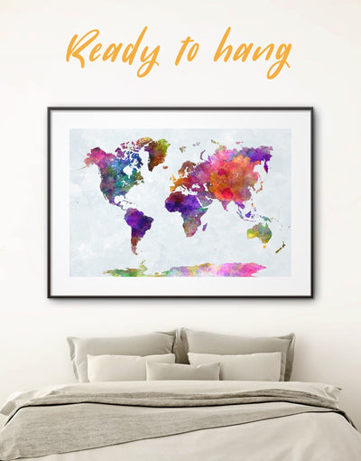 Colorful World Map Poster Framed Wall Art Print - Abstract map abstract world map wall art bedroom framed abstract wall art framed map wall