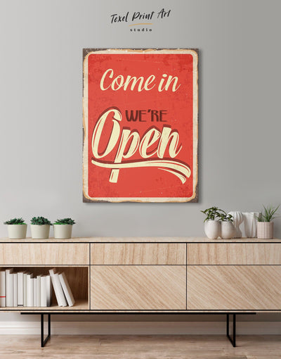 Come In We Are Open Wall Art Canvas Print - 1 panel Living Room red Rustic white