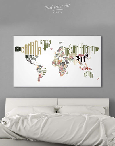 Country Names Map Wall Art Canvas Print - 1 panel Abstract map bedroom Contemporary Living Room