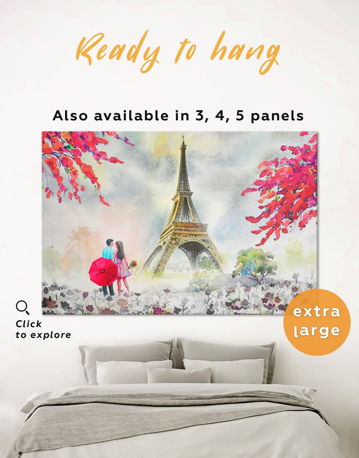 Couple in Paris City Wall Art Canvas Print - 1 panel bedroom eiffel tower wall art french wall art inspirational wall art