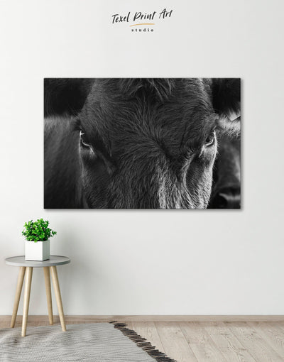 Cow Head Wall Art Canvas Print - 1 panel Animals bedroom black and white wall art cow canvas wall art