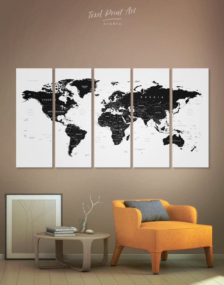 Custom 5 Piece Map Wall Art Canvas Print - 5 panels Black black and white wall art Black and white world map map of the world labeled