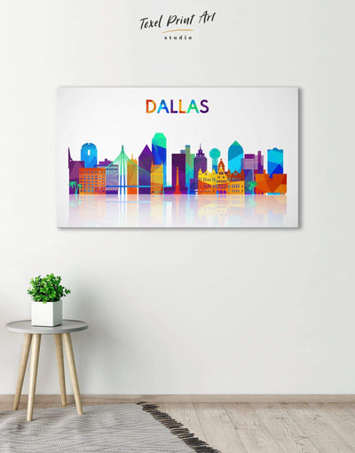 Dallas Skyline Canvas Wall Art - Canvas Wall Art 1 panel Abstract bedroom City Skyline Wall Art Cityscape
