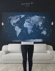 Deep Blue Push Pin World Map Wall Art Canvas Print