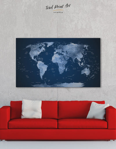 Deep Blue Push Pin World Map Wall Art Canvas Print - 1 panel bedroom Blue Blue wall art for living room contemporary wall art