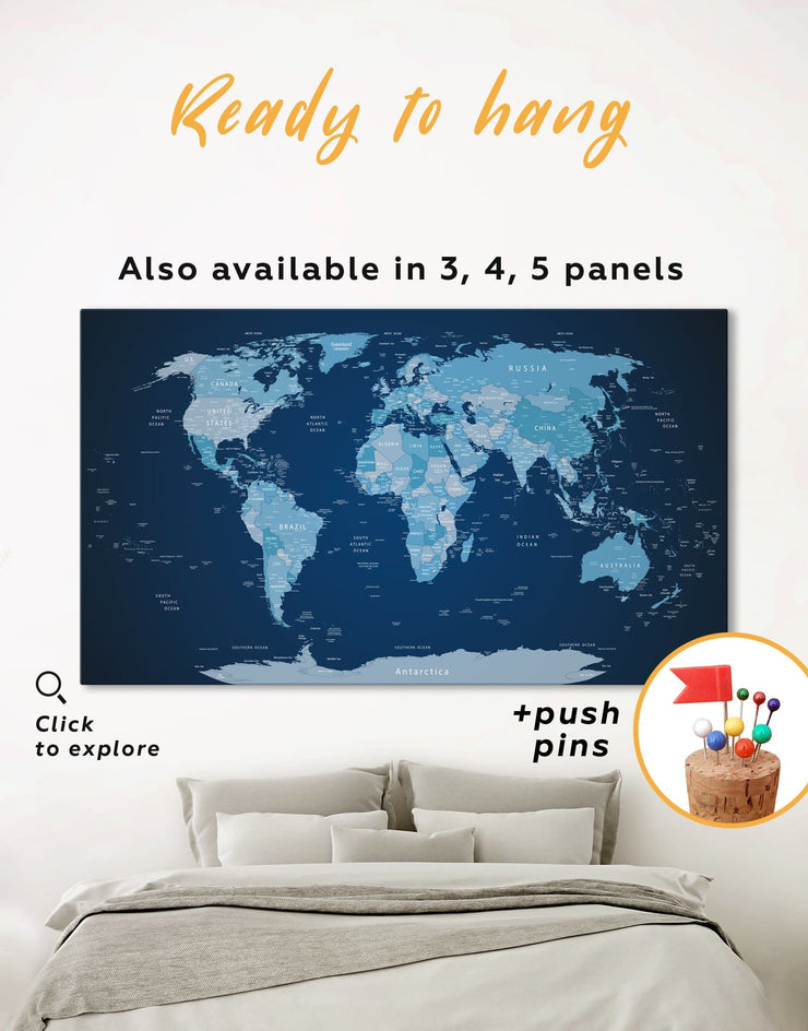 Deep Blue World Map Push Pin Wall Art Canvas Print - 1 panel bedroom Blue corkboard Hallway