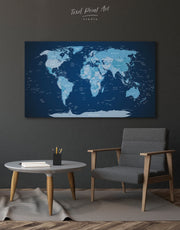 Deep Blue World Map Push Pin Wall Art Canvas Print