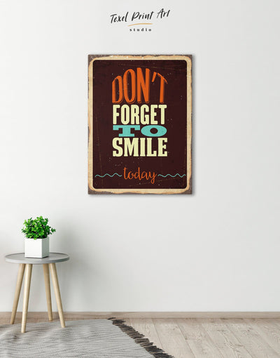 Dont Forget to Smile Today Retro Wall Art Canvas Print - 1 panel bedroom Hallway Living Room Rustic