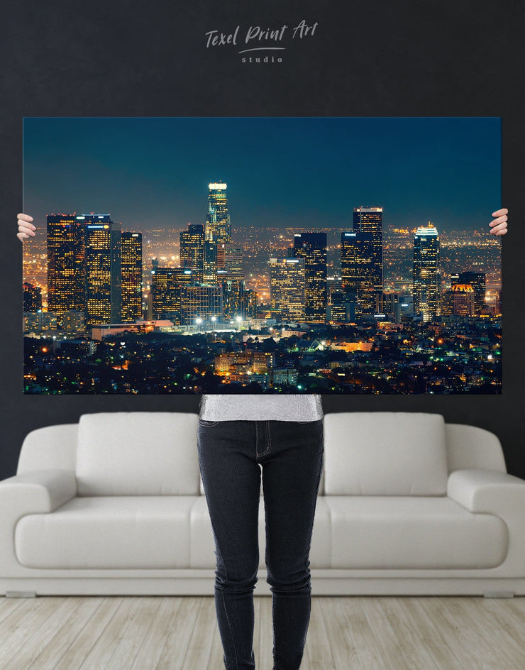 Downtown Los Angeles Wall Art Canvas - Canvas Wall Art 1 panel bedroom City Skyline Wall Art Cityscape Hallway