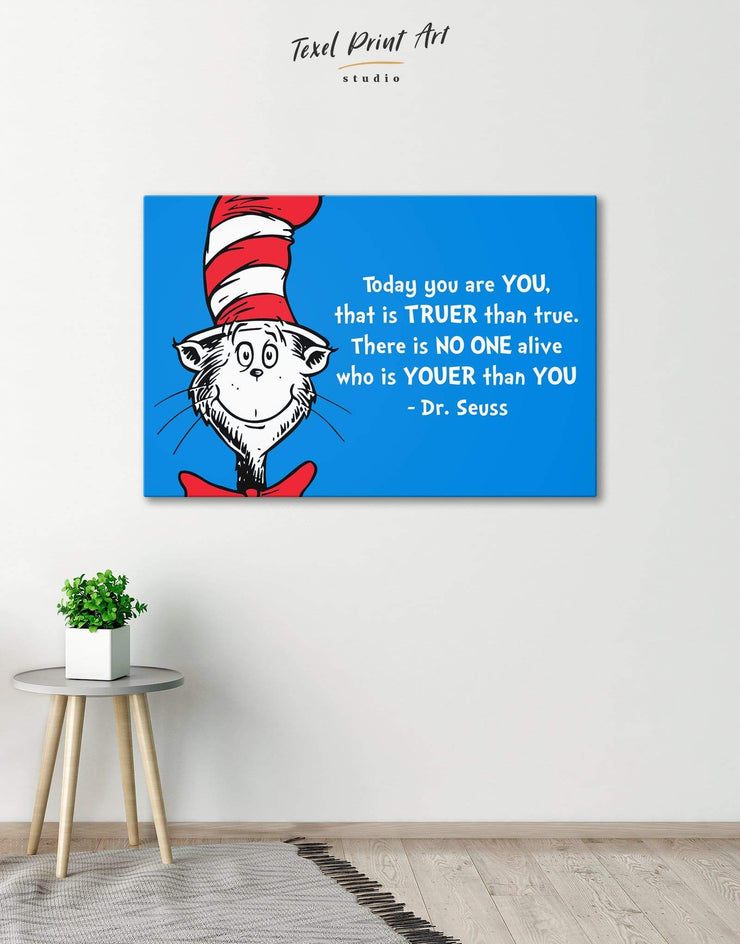 Dr.Seuss Quote Wall Art Canvas Print - Canvas Wall Art 1 panel bedroom blue blue and white Hallway