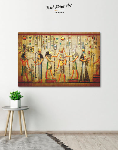 Egypt Wall Art Canvas Print - 1 panel Antique Brown Egyptian Hallway