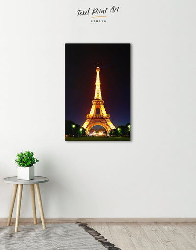 Eiffel Tower at Night Wall Art Canvas Print - 1 panel bedroom black eiffel tower wall art french wall art