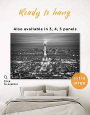 Eiffel Tower Black and White Wall Art Canvas Print