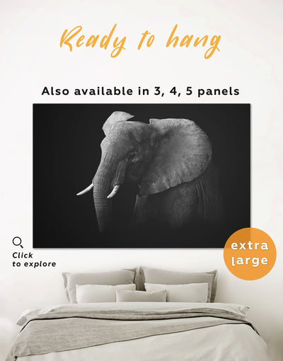 Elephant Black and White Wall Art Canvas Print - 1 panel Animal bedroom black and white wall art elephant wall art