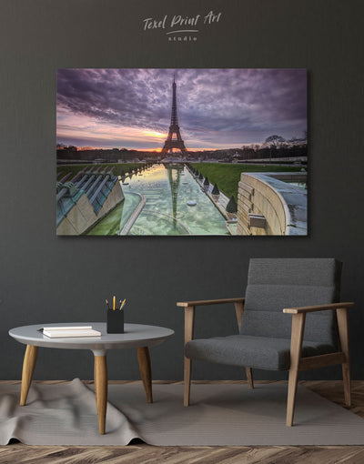 Evening Paris Wall Art Canvas Print - 1 panel bedroom City Skyline Wall Art Cityscape eiffel tower wall art
