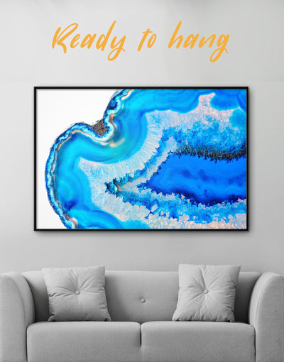 Famed Deep Blue Geode Wall Art Canvas - Abstract bedroom blue blue and white Blue wall art for living room
