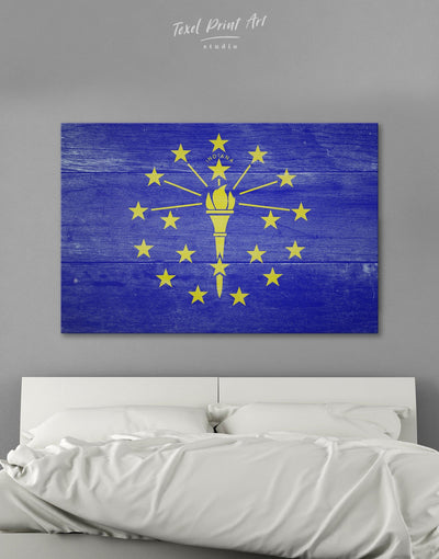 Flag Of Indiana Wall Art Canvas Print - 1 panel blue flag wall art Hallway Living Room