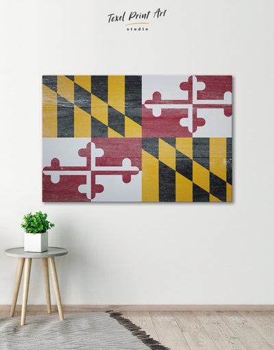 Flag of Maryland Wall Art Canvas Print - Canvas Wall Art 1 panel flag wall art Hallway Living Room Office Wall Art