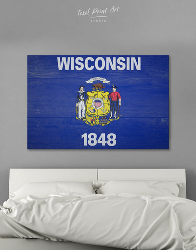 Flag Of Wisconsin Wall Art Canvas Print - 1 panel blue flag wall art Hallway Living Room
