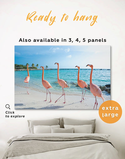 Flamingo Wall Art Canvas Print - 1 panel Animal Beach House beach wall art beach wall art for bathroom