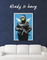 Flying Copper Banksy Wall Art Canvas Print