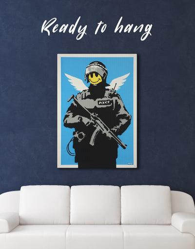 Flying Copper Banksy Wall Art Canvas Print - 1 panel banksy wall art bedroom Black Blue