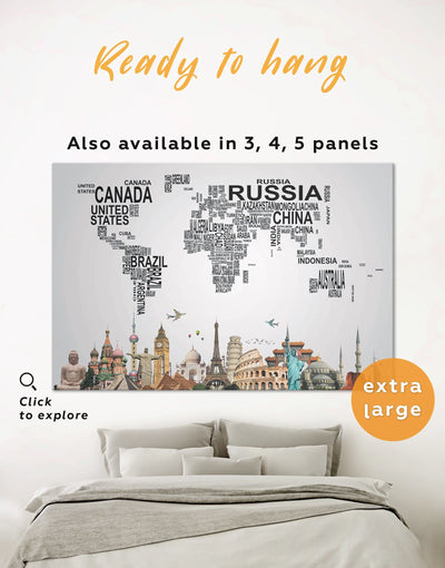 Font Map Wall Art Canvas Print - 1 panel Abstract map bedroom black geometric world map