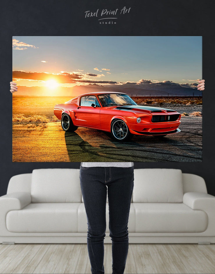 Ford Mustang Wall Art Canvas Print - 1 panel Car garage wall art Sunset sunset wall art