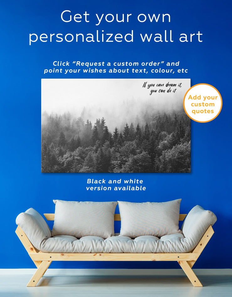 Forest Mist Wall Art Canvas Print - 1 panel bedroom forest wall art Hallway landscape wall art