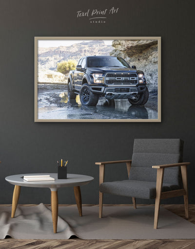 Framed 2017 Ford F-150 Raptor Wall Art Canvas - bachelor pad Car framed canvas garage wall art manly wall art