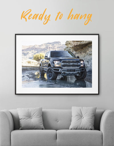 Framed 2017 Ford F-150 Raptor Wall Art Print - bachelor pad Car framed print garage wall art manly wall art