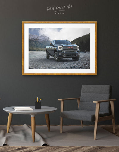 Framed 2020 GMC Sierra Heavy Duty Wall Art Print - bachelor pad Car framed print garage wall art Hallway