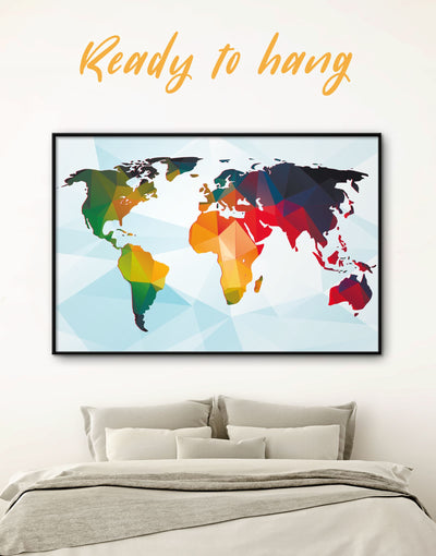 Framed 3D Geometric World Map Wall Art Canvas - Abstract map blue corkboard framed canvas framed world map canvas