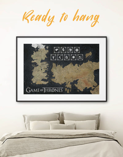 Framed 7 Kingdom Map with Houses Sigil Wall Art Print - bedroom black and gold wall art framed print Game of Thrones Library
