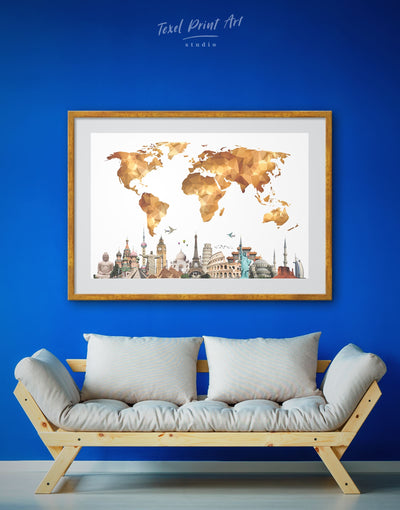 Framed Abstract Brown World Map Wall Art Print - Abstract Abstract map bedroom contemporary wall art framed print