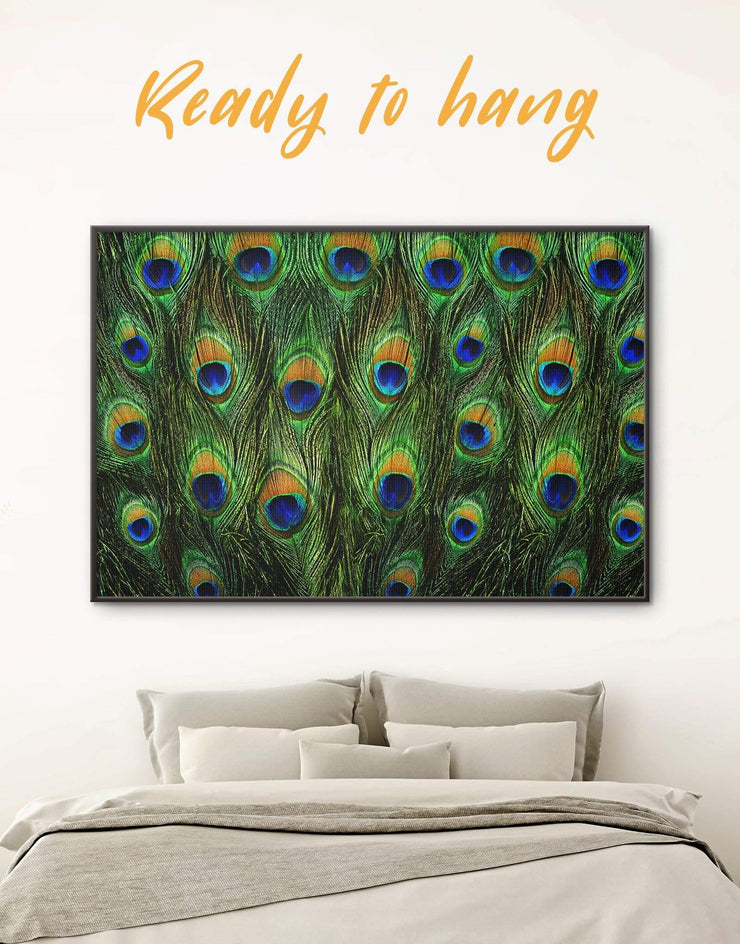 Framed Abstract Feather Wall Art Canvas - Abstract bedroom framed canvas framed wall art Green