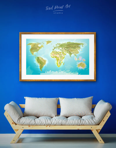 Framed Abstract Green World Map Wall Art Print - Abstract map Blue framed map wall art framed print framed world map print