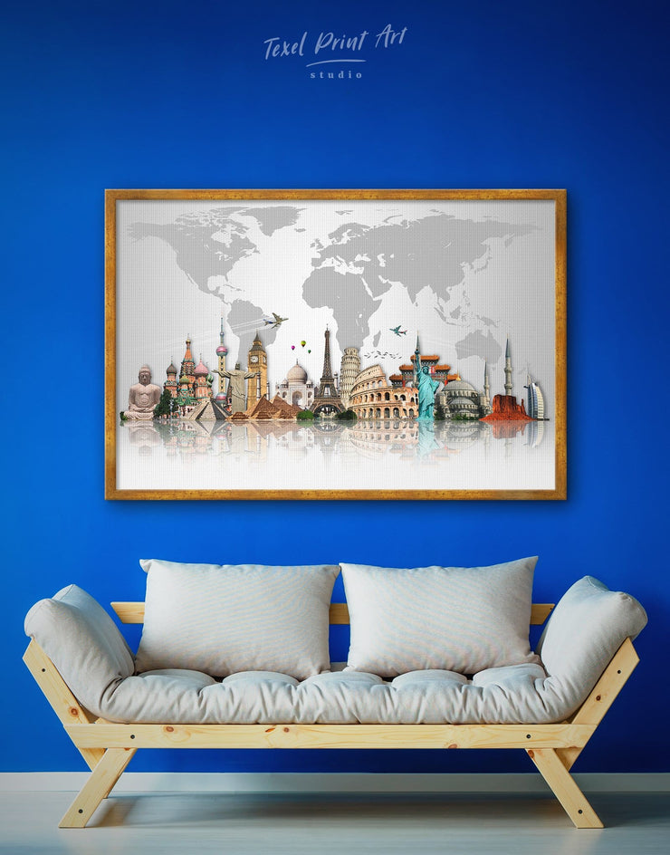Framed Abstract Grey Map Wall Art Canvas - abstract world map wall art bedroom Contemporary contemporary wall art framed canvas